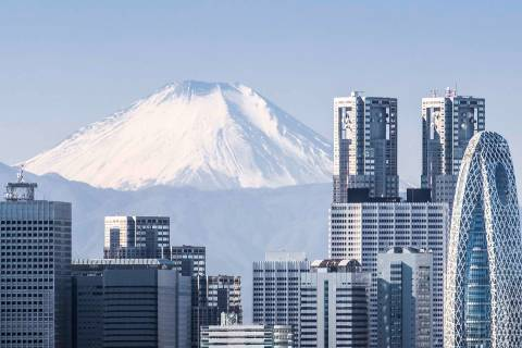 City skyline, with Mount Fuji in the background