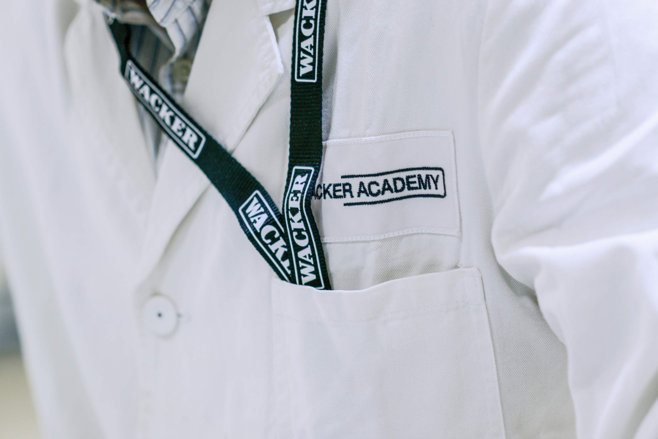 Lab coat with WACKER ACADEMY logo