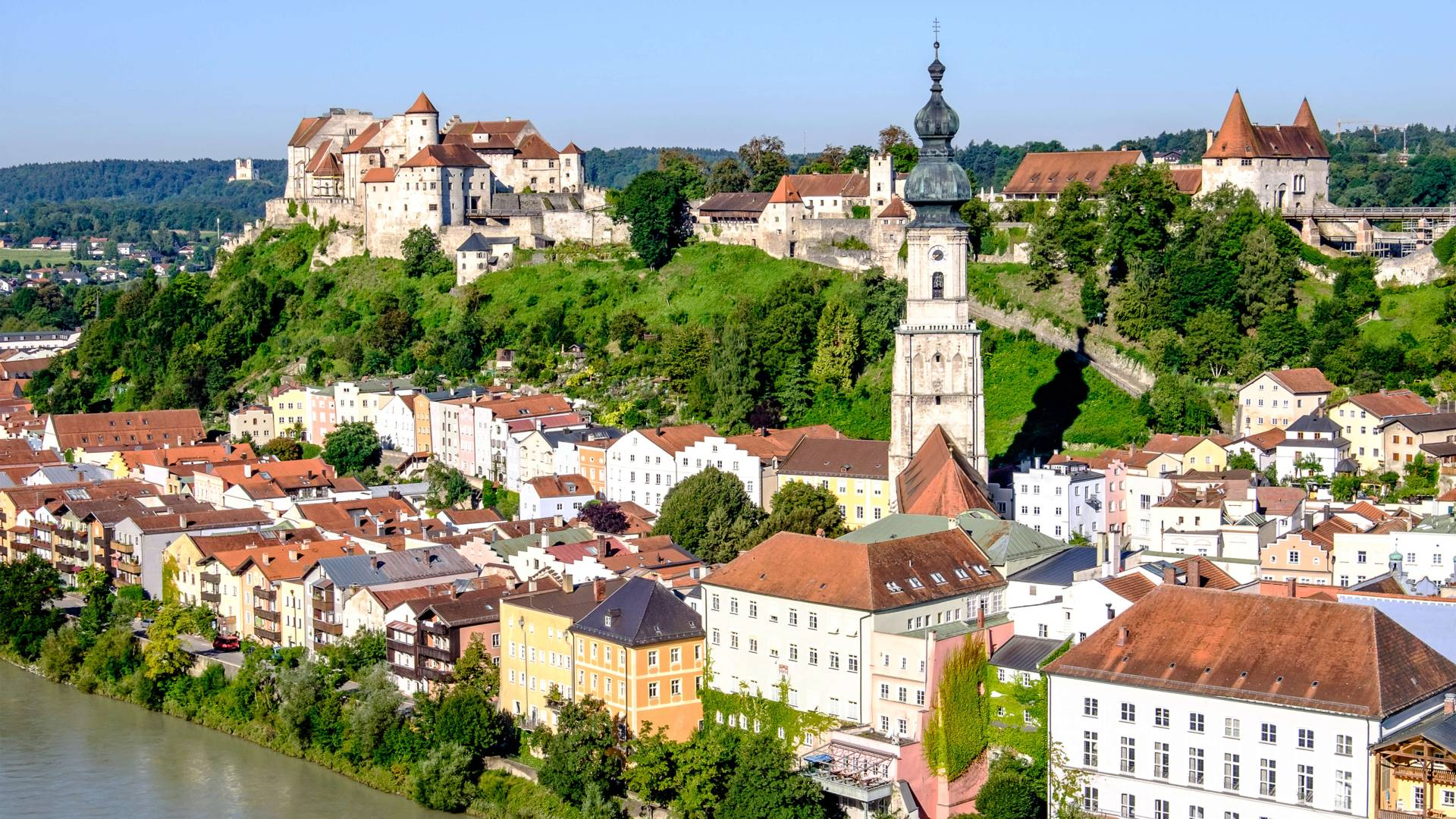 Aerial photo of historic center of Burghausen